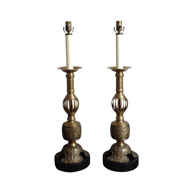 Image of Vintage Satin Brass Altar Stick Lamps