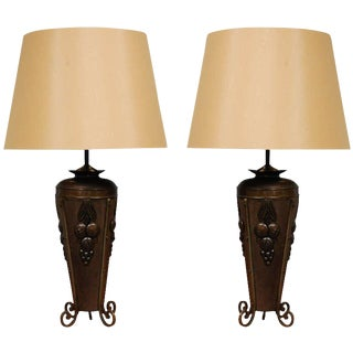 Antique French Deco Urns as Table Lamps - A Pair