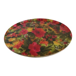 Mid-Century Floral Acrylic Serving Tray