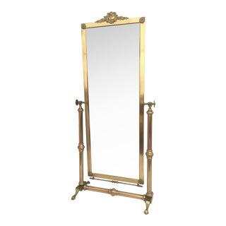 Neoclassical Brass Cheval Tilting Floor Mirror