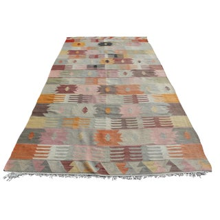 Vintage Turkish Kilim Rug - 5′9″ × 13′3″