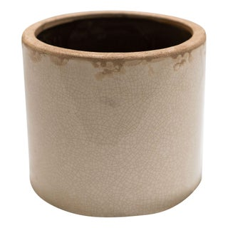 Cream Crackled Ceramic Vessel