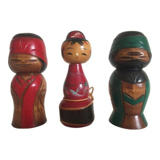 Vintage Mid-Century Japanese Wooden Kokeshi Dolls - Set of 3