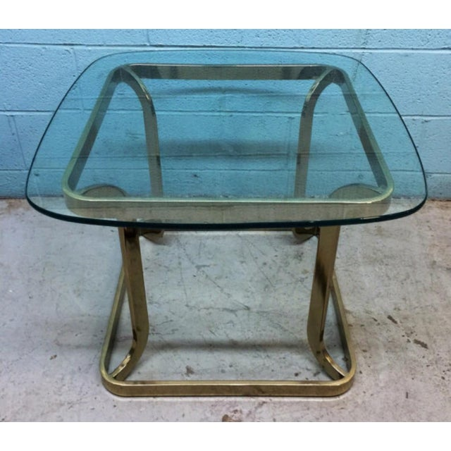 Milo Baughman Style Brass Side Table - Image 3 of 6