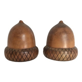 Mid-Century Acorn Bookends - A Pair