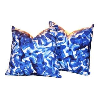 Dwell Lapis Brushstroke Indigo Pillows - a Pair