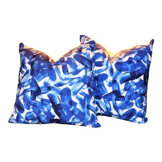 New Lapis Brushstroke Indigo Pillows - a Pair