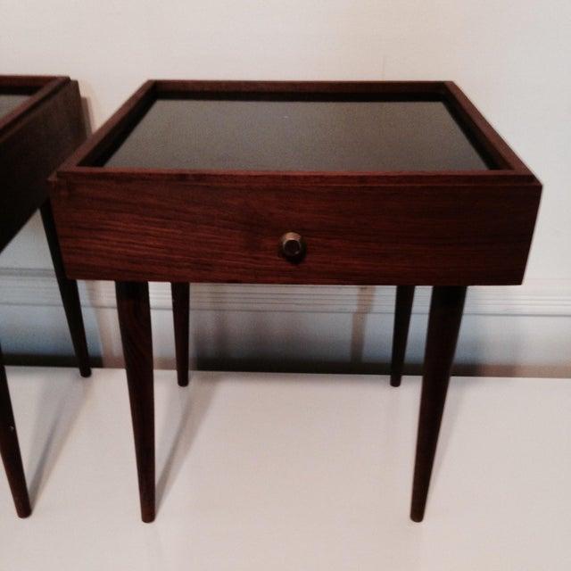 Mark Adam Mid-Century Walnut Folding Tables - Pair - Image 3 of 7