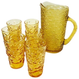 Amber Pitcher and Glasses Set - 7