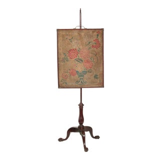 Mahogany Chippendale Pole Screen with Original Period Needlework