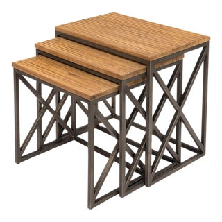 Sarreid LTD Scrubboard Nesting Tables - Set of 3