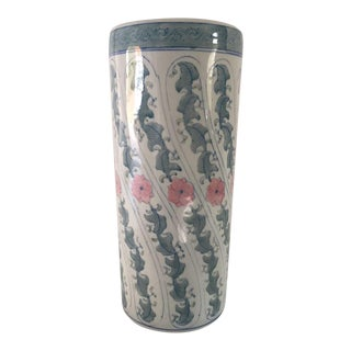 Green & Blue Floral Asian Chinese Porcelain Umbrella Stand