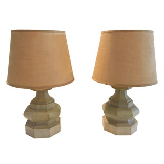 Mid-Century Carved Table Lamps - A Pair