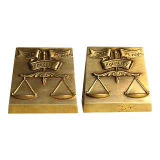 Gold Equality Brass Book Ends - A Pair
