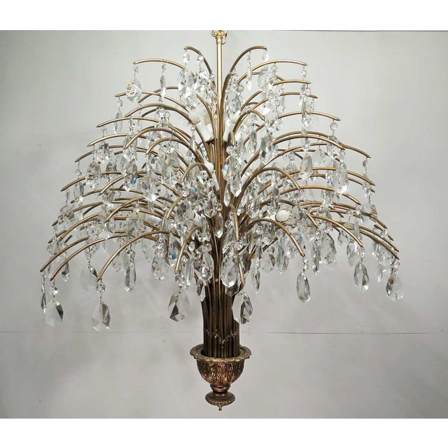 Vintage Mid Century Palm Spray Crystal Chandelier - Image 7 of 8
