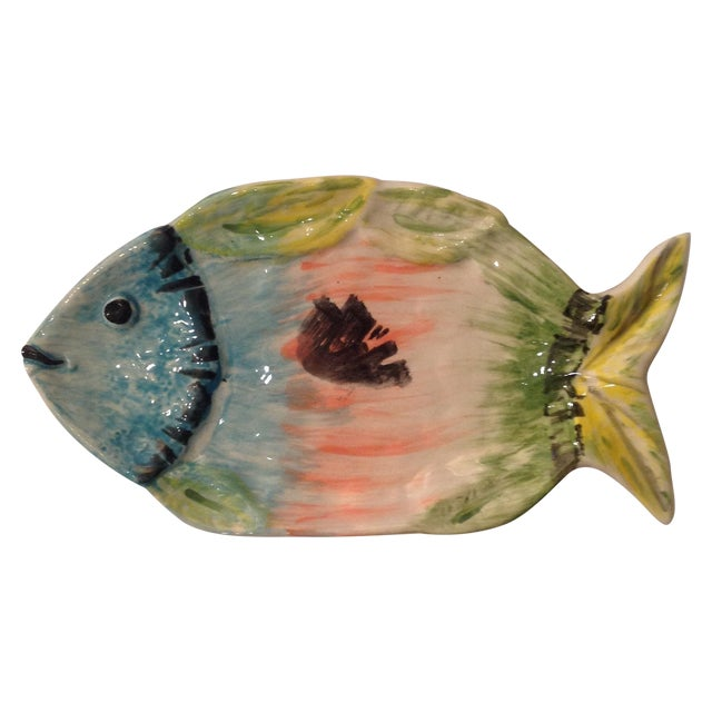 Pastel colors italian pottery plate fish chairish for Fish plates near me