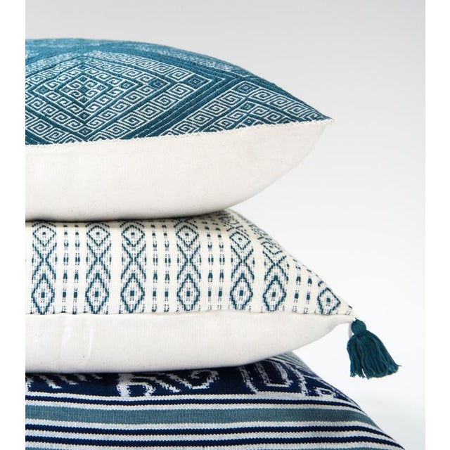 Image of Handwoven Mexican Teal Diamond Pillow