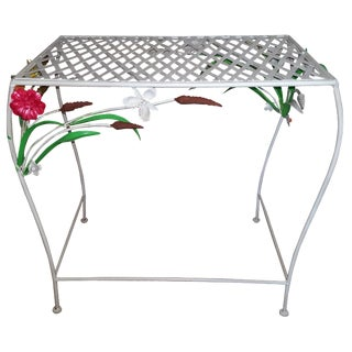 1965 Hand-Painted Tole Floral Table