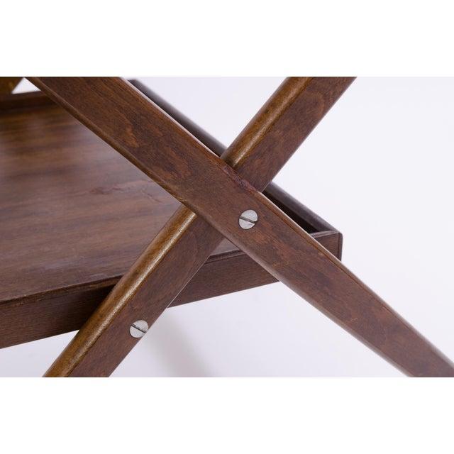 Danish Folding Walnut Bar Cart With Serving Tray - Image 9 of 11