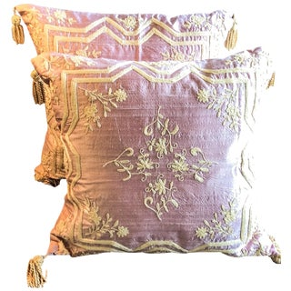 Raw Silk Hand Embroidered Dori Pillows - Pair