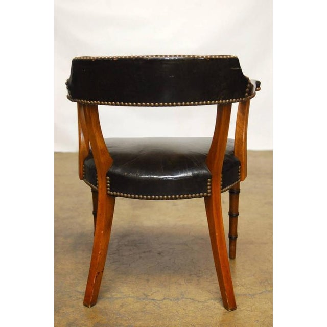 Barnard & Simonds Leather Library Chairs - Set of 4 - Image 4 of 10