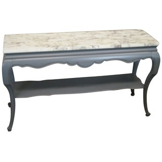 French Louis XV Gray Painted Marble Top Console
