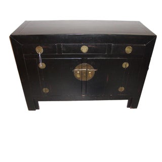 Ebonized Chinese Style Campaign Chest or Sideboard Commode