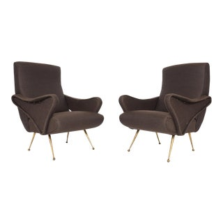 Italian Modern Zanuso Style Lounge Chairs - A Pair