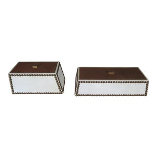 English Leather Studded Boxes - a Pair