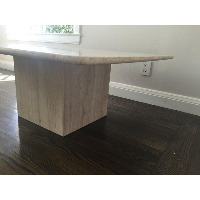 Italian Travertine Marble Coffee Table - Image 5 of 9