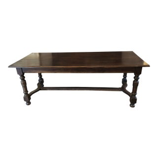 Antique 1915 Belgian Dark Wood Dining Table