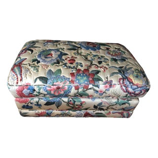 Upholstered Floral Ottoman