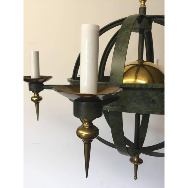 Vintage Spherical Iron and Brass Sputnik Chandelier - Image 3 of 4