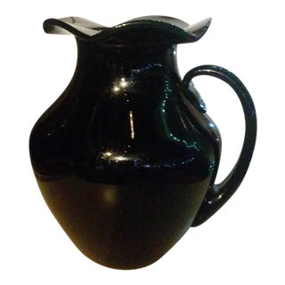 Dark Purple Amethyst Pitcher With Ruffled Top