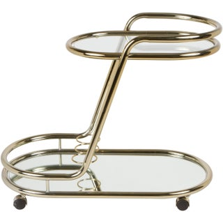 Vintage 1970s Brass Bar Cart
