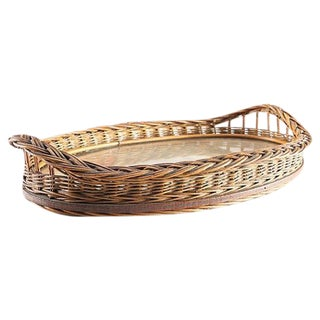 Antique Victorian Oval Wicker Tray