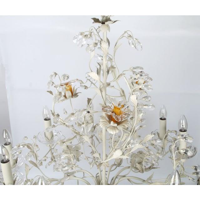 White Metal & Crystal Italian Chandelier - Image 10 of 11