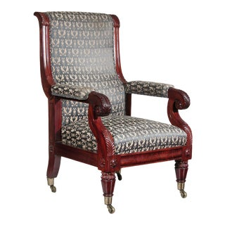 Mahogany Neoclassical Open Armchair