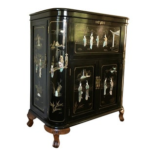 Regency Black Lacquer Chinoiserie Drinking /Bar Cabinet