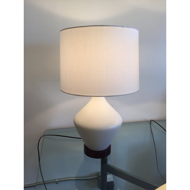 Mid-Century Ceramic Table Lamps With Shades - Pair - Image 7 of 7