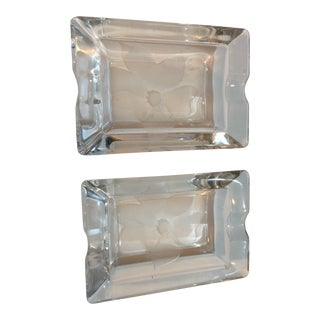 Floral Frosted Crystal Ashtrays - a Pair