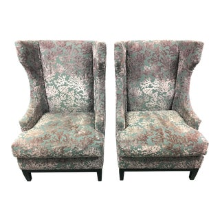 Bernhardt Contemporary Wing Back Chairs - A Pair