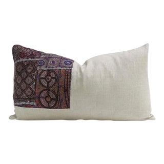 Metallic Embroidered Linen Lumbar Pillow