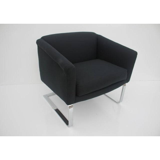 Italian Vintage Flat Bar Chrome Accent Chair - Image 3 of 11