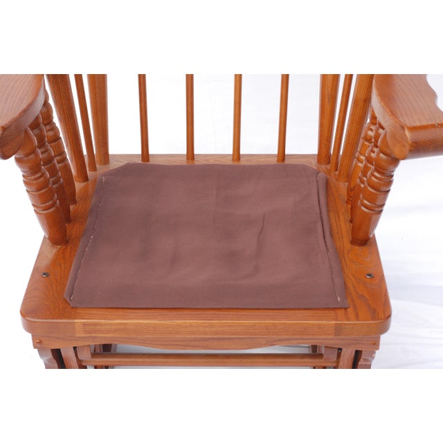 Giselle Solid Wood Glider Rocker with Burgundy Tufted Cushion - Image 3 of 11