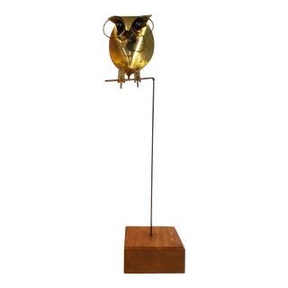 1970's Brass Owl Sculpture on Wooden Base