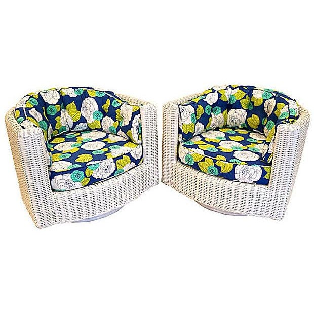 Image of Wicker Yellow Green Swivel Chairs - A Pair