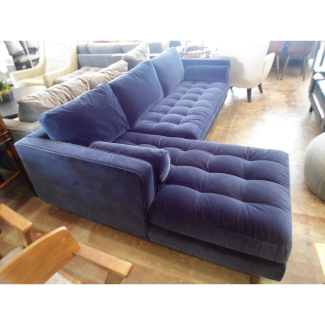 Navy Blue Velvet Sectional W/ Tufted Seat, Left Chaise - Image 2 of 6
