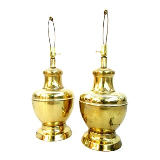 Mid-Century Regency Brass Lamps - A Pair