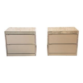 Guy Barker for Ello Mid-Century Mirrored Nightstands - a Pair